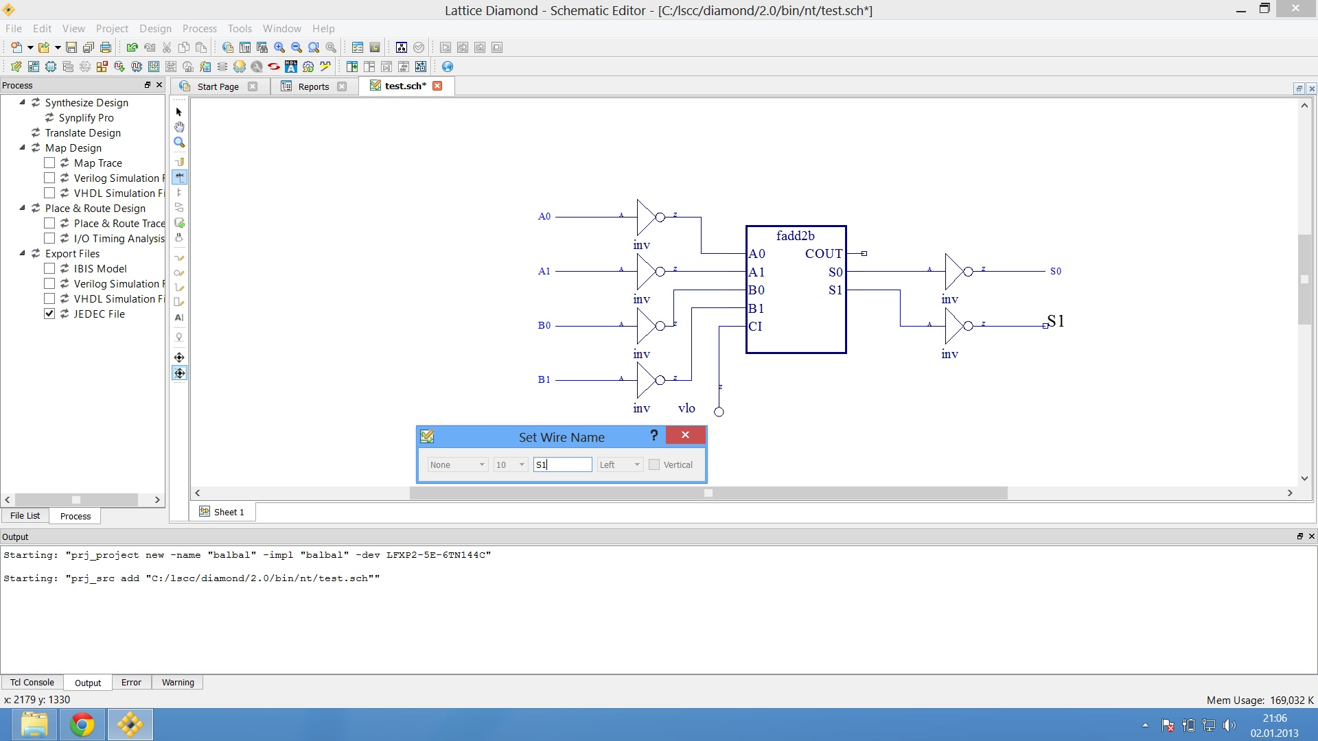 Creating A Simple Fpga Project For The Lattice Xp2 Free Wiring Schematic Program Click On Net Name Button Enter Wire Which Is Easy To Identify And You Want When Are Done Every Shoud